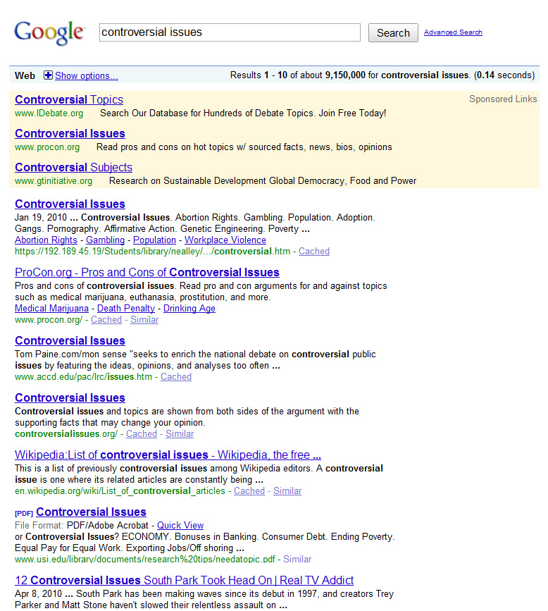 Google SERP for 'controversial issues'