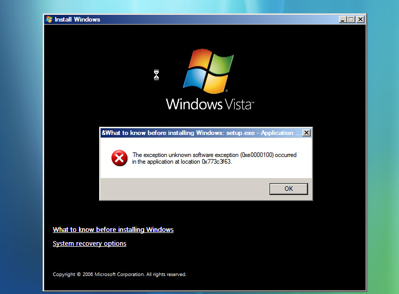 Windows Vista Install Fail - http://www.flickr.com/photos/everdred/171671284/